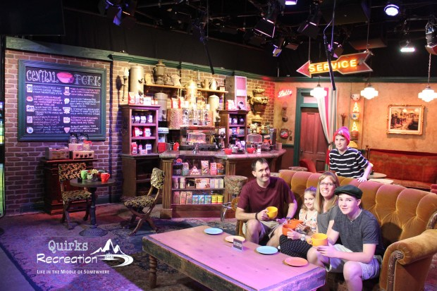 family drinking coffee Central Perk