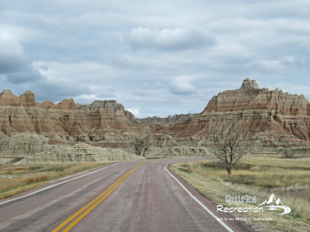 view from car on Badlands National Park loop road
