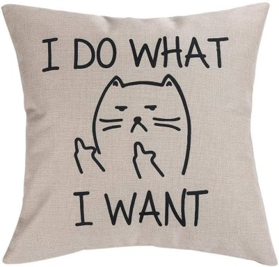 quirky cat throw pillow