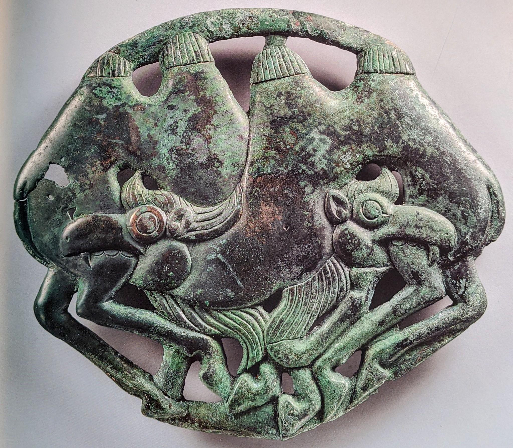 Two camel bronze phalera (Horse chest collar)