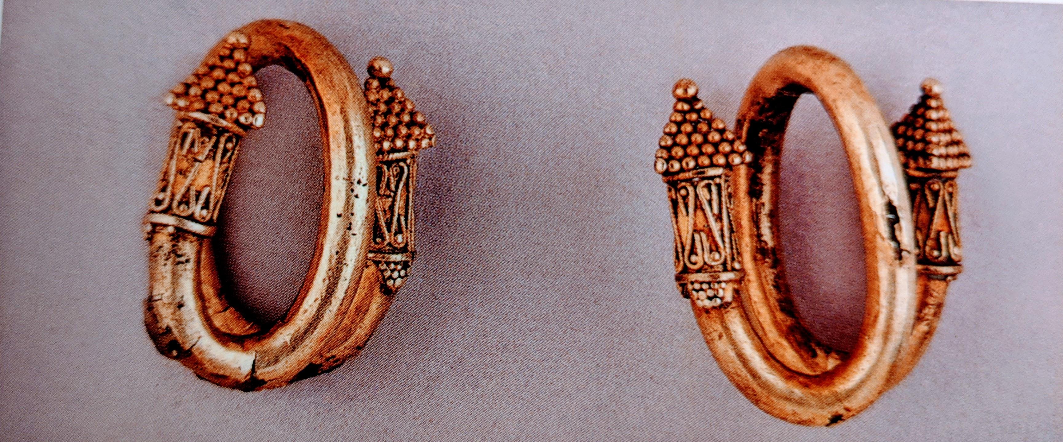 Bronze cased electrum earrings