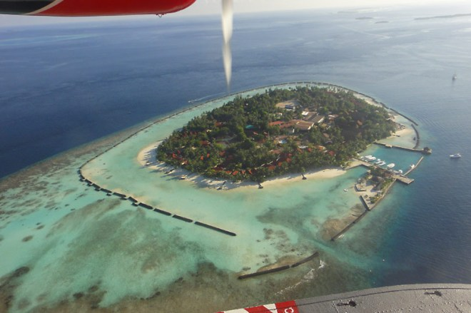 View of a random island from the sea plane