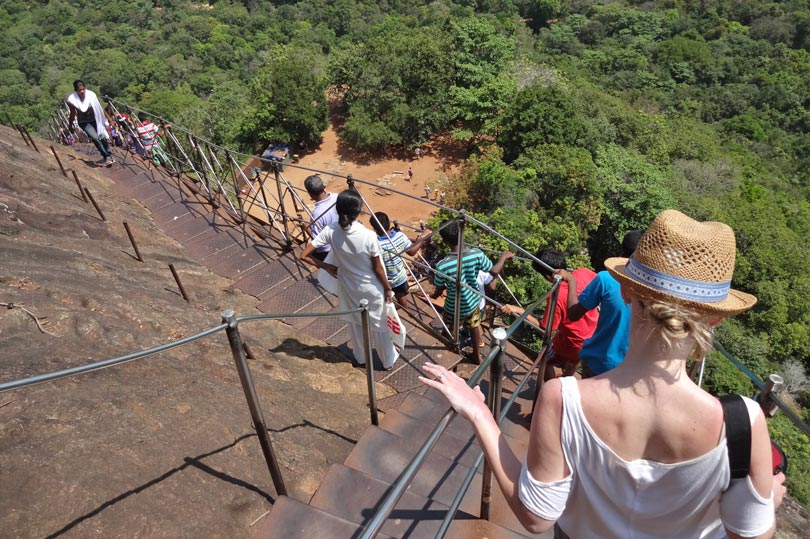 Climbing down Sigiriya in Sri Lanka