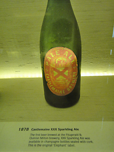 1878 bottle of Castlemaine ale - taken at the XXXX brewery