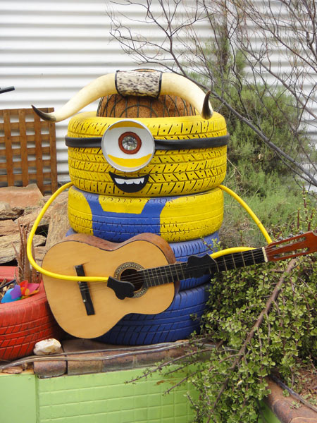 Tyre minion at quirky hostel in Australia