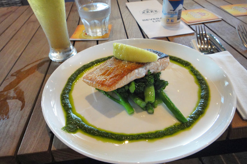 Salmon dish at the XXXX brewery in Brisbane
