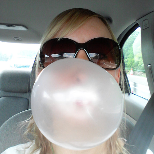 Blowing bubblegum
