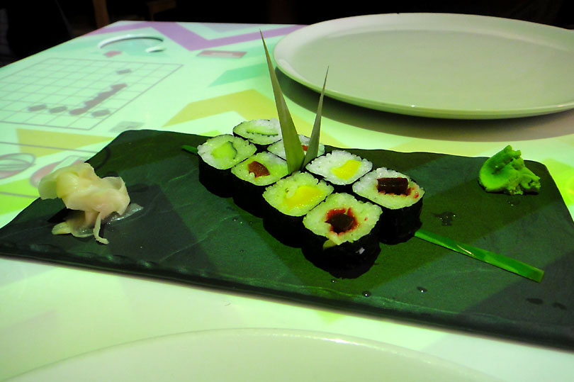Rainbow maki and a game of Battleships. Interactive dining at Inamo in London