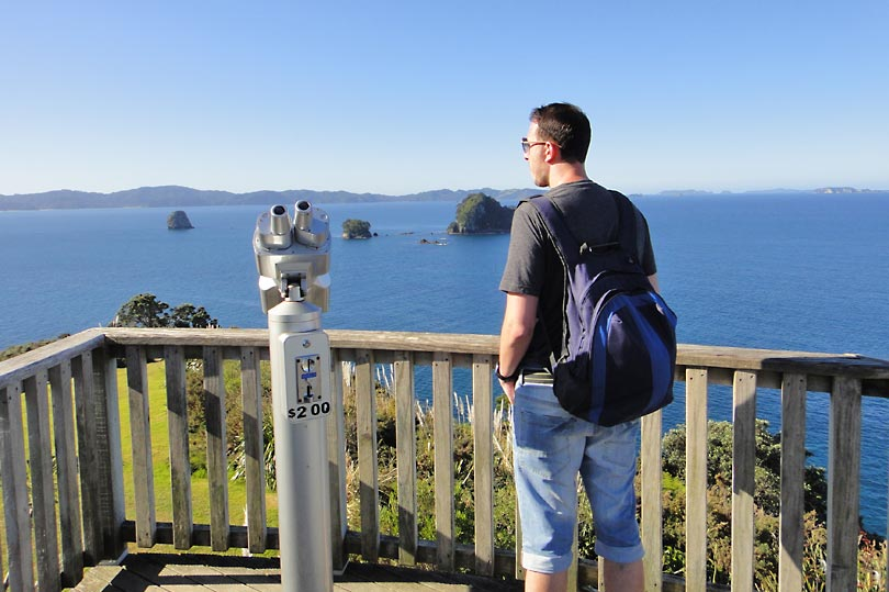 Admiring the view on the walk to Cathedral Cove in New Zealand
