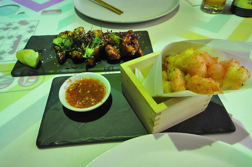Tempura prawns and Korean chicken wings - Inamo Soho, London - an Asian fusion restaurant with a twist!