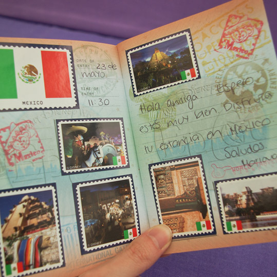 The passport page for Mexico at Epcot World Showcase