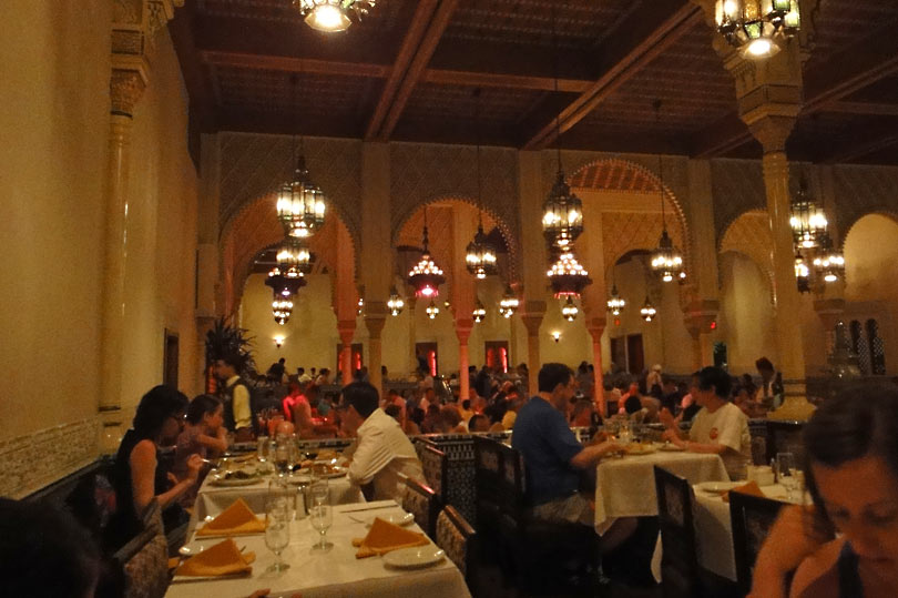 Try some of the world cuisine on offer at Epcot. This is Restaurant Marrakesh - the Moroccan restaurant.