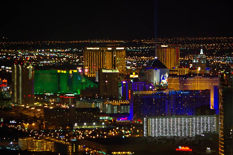 Some of the hotels on the Vegas strip. View from The Stratosphere Tower.