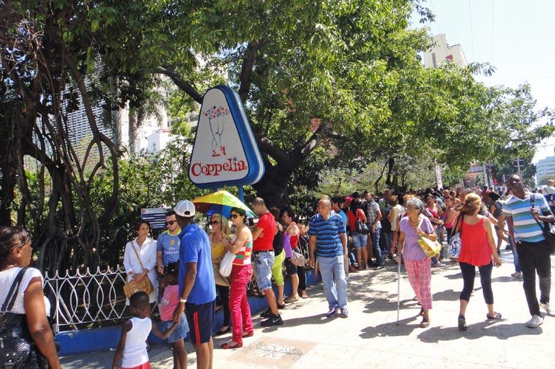 The queue outside Coppelia - a very popular ice cream parlour in Havana, Cuba