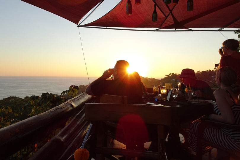 Sunset is a popular time to visit El Avion restaurant in Manuel Antonio
