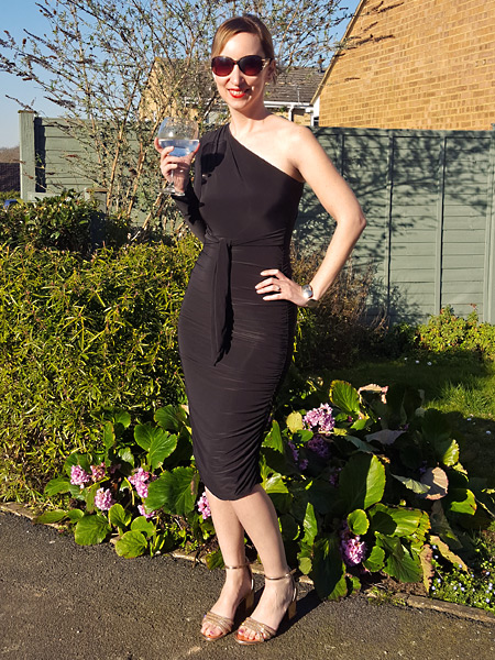 Femme Luxe Finery Black One Shoulder Ruched Midi Dress