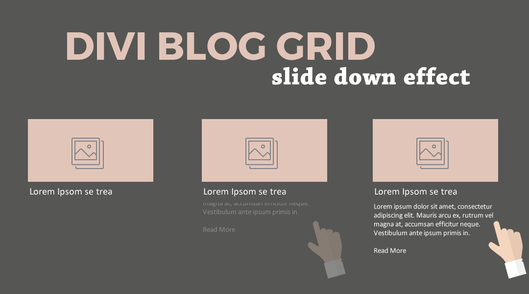 Divi Blog Grid Slide Down Effect