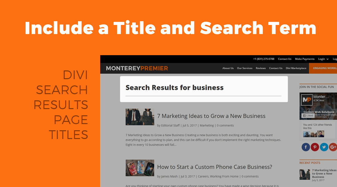 Add a Title and Search Term to your Divi Search Results Page