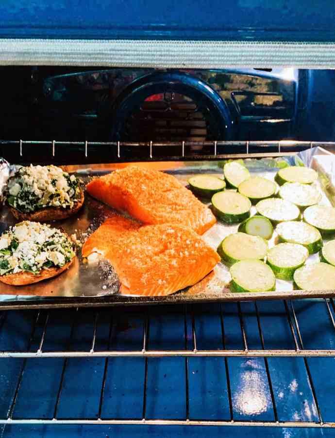 One Pan Roast: Salmon, Stuffed Portobello & Zucchini