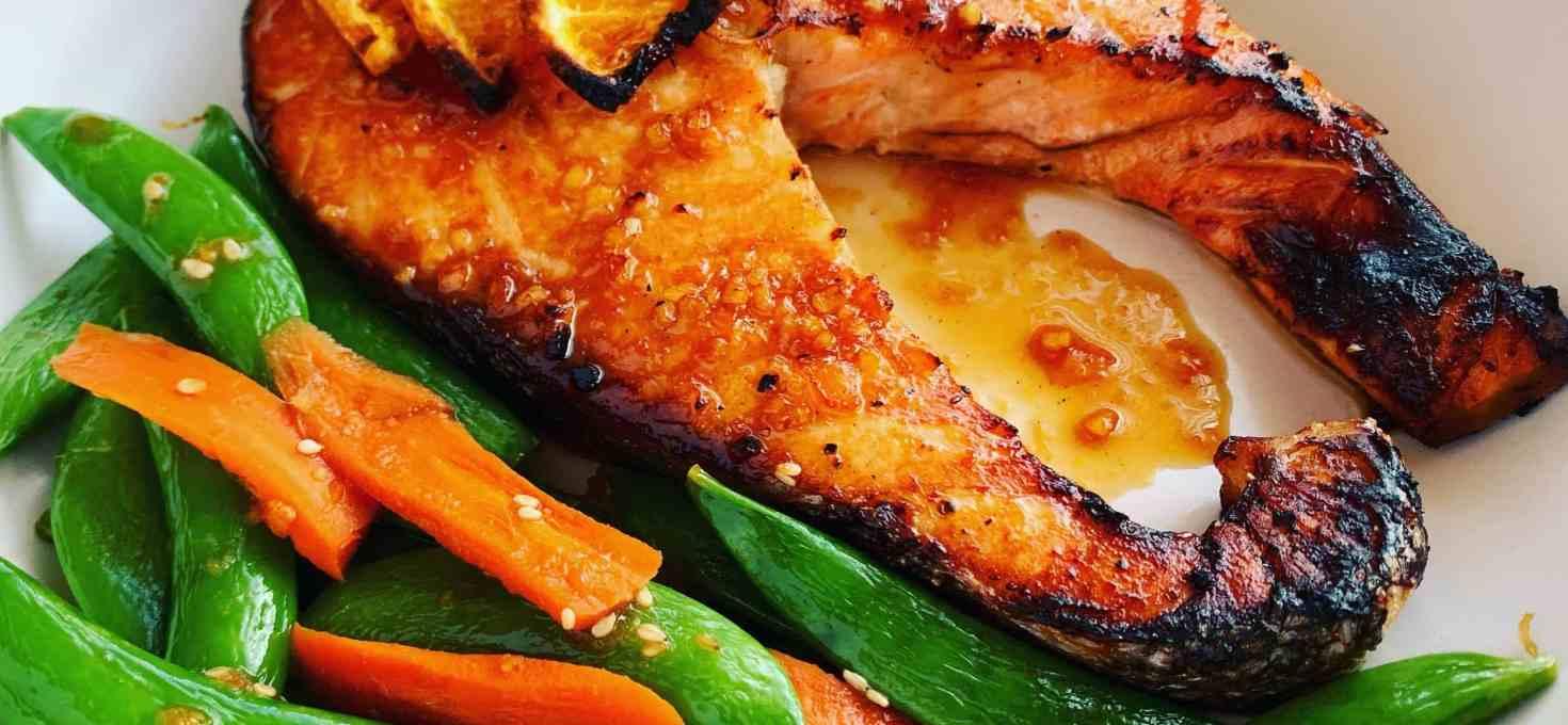 Orange Ginger Salmon with Sesame Peas & Carrots