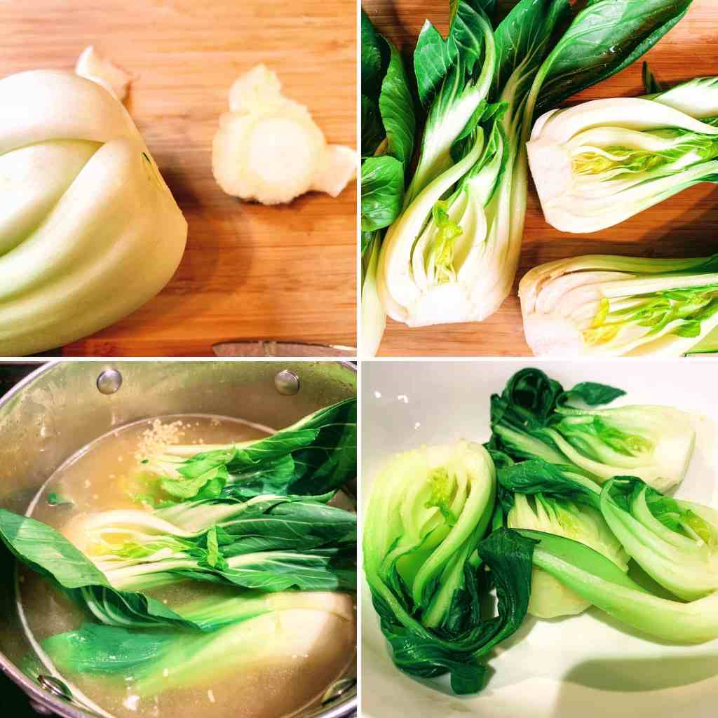 Ginger Chicken Wonton Soup_4 steps to prep and blanch bok choy