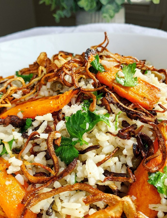 Crispy Fried Onion & Roasted Carrot Rice with Onion Oil Dressing
