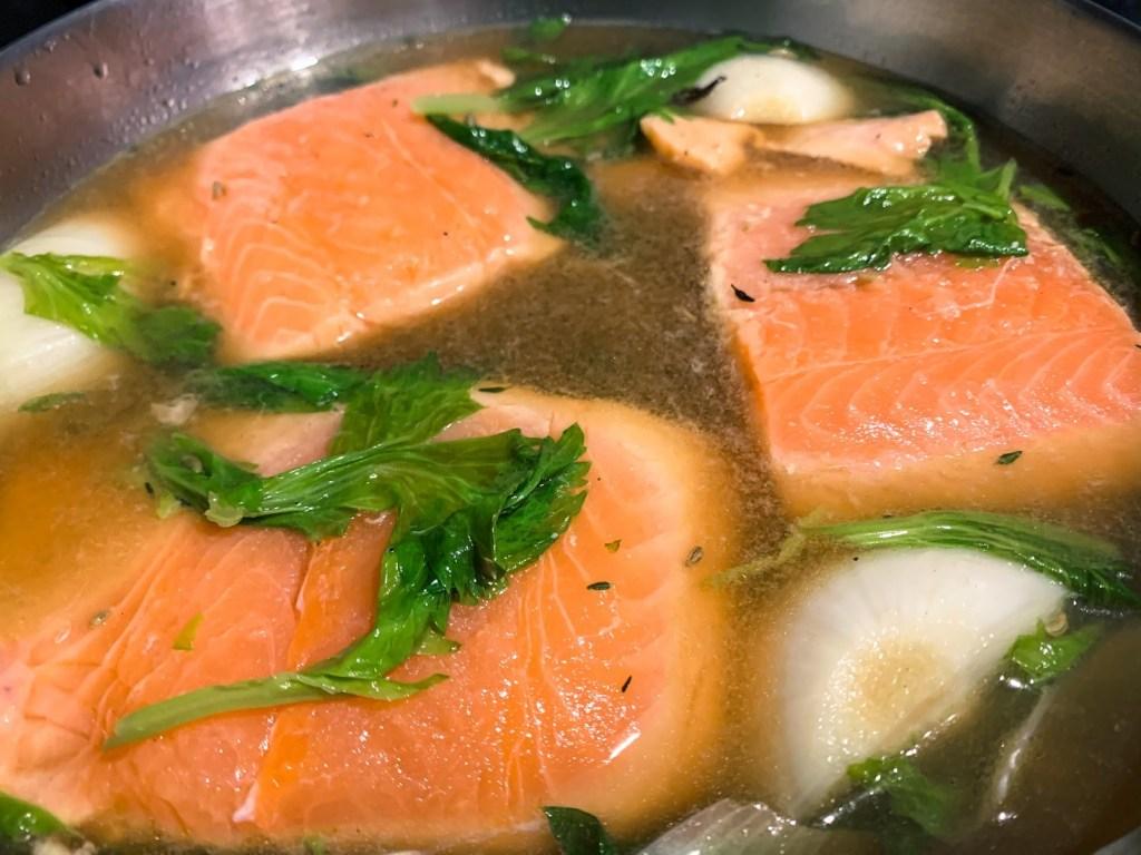 Celery Leaf & Fennel Poached Salmon_poach salmon