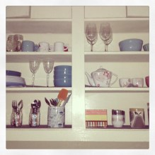 The best thing about the kitchen are all the open shelves.