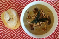 Celeriac, cannellini and porcini mushroom soup.