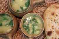 Leek, potato and cannellini bean soup.