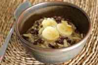 Oat, chia and buckwheat breakfast bowl.