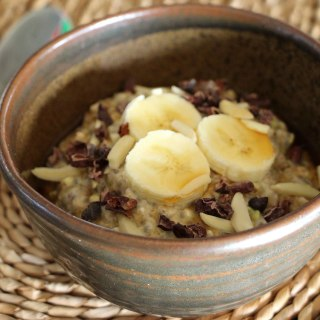 Oat, chia and buckwheat breakfast bowl