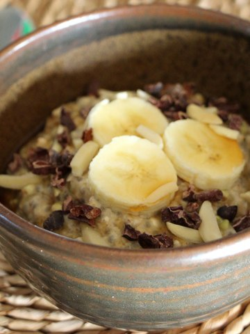 Oat, chia and buckwheat breakfast bowl.