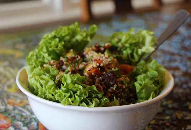 Za'atar spiced pumpkin and quinoa salad.