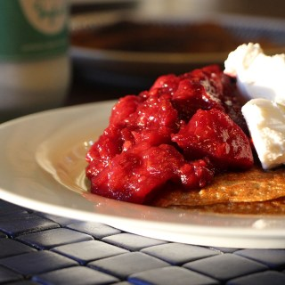 Buckwheat pancakes with tamarillo and apple compote.