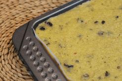 Polenta setting in a slice tin.