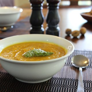 Pumpkin soup with walnut and parsley pesto.