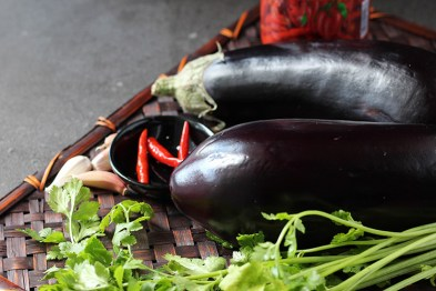 Eggplant, chillis, garlic and coriander (cilantro).