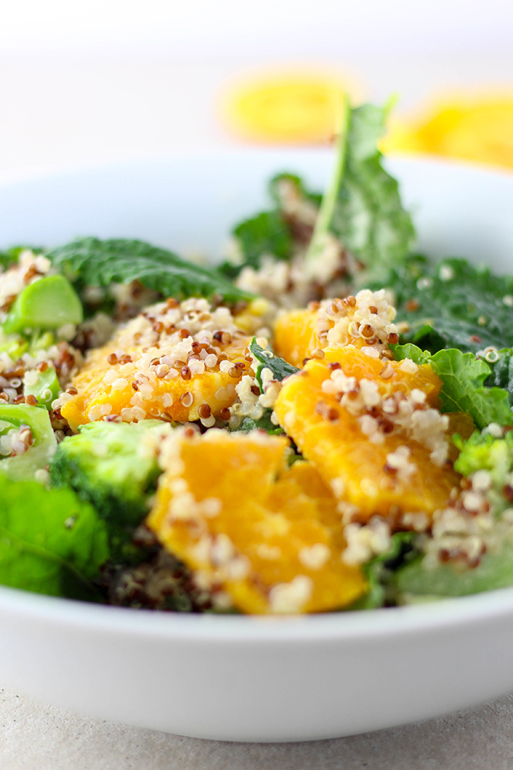 Quinoa, citrus and greens - a simple salad with a terrific tahini and orange dressing.