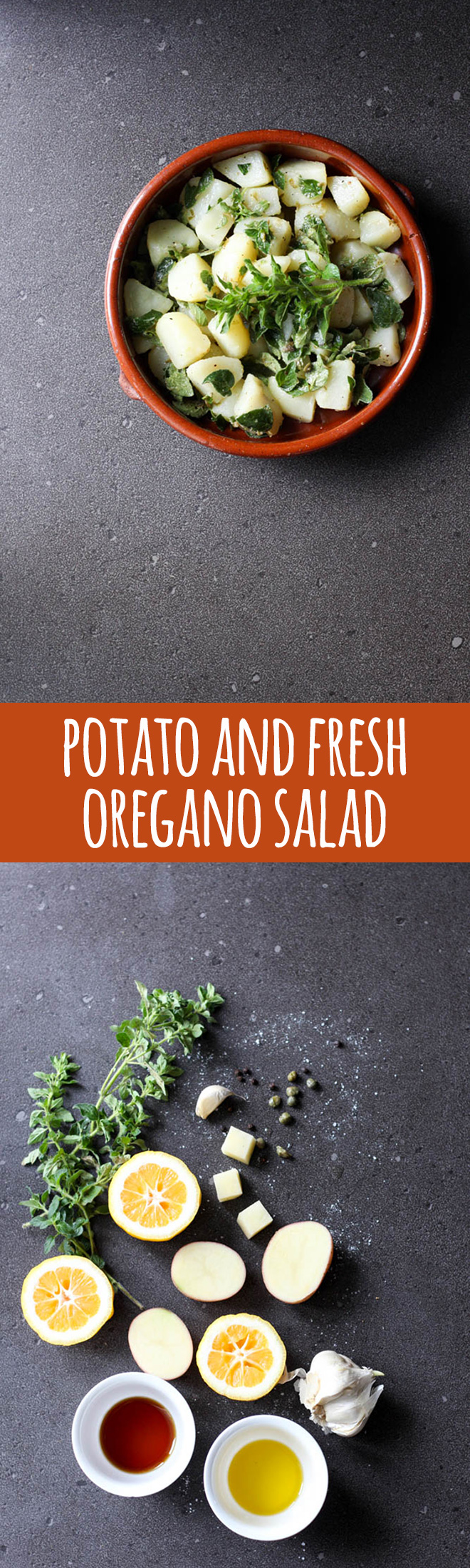 This is a much lightened up version of potato salad, with a sharp caper dressing which is balanced out by the savoury flavours of fresh oregano.