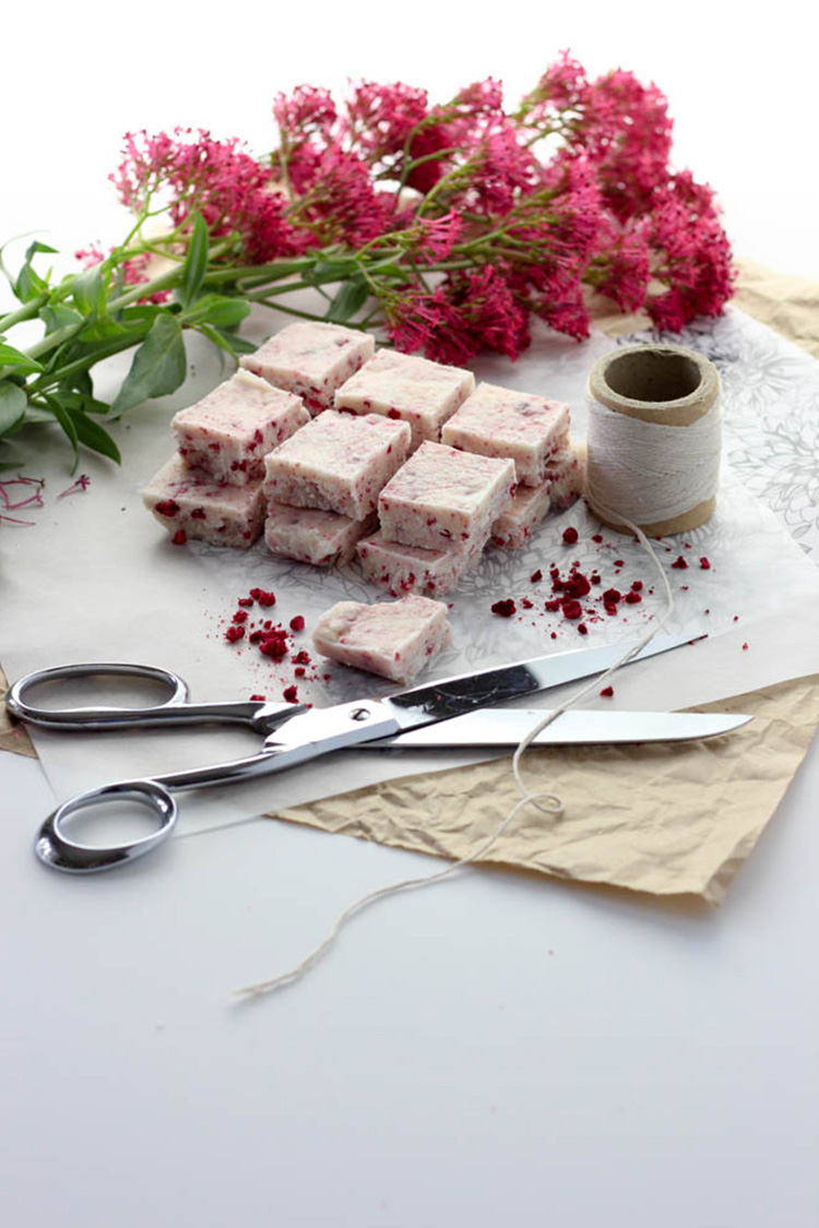 Raspberry and coconut butter fudge.