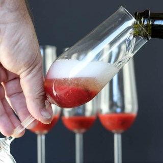 Strawberry and basil champagne cocktail