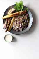 Eggplant and lentil salad with sumac tahini dressing.