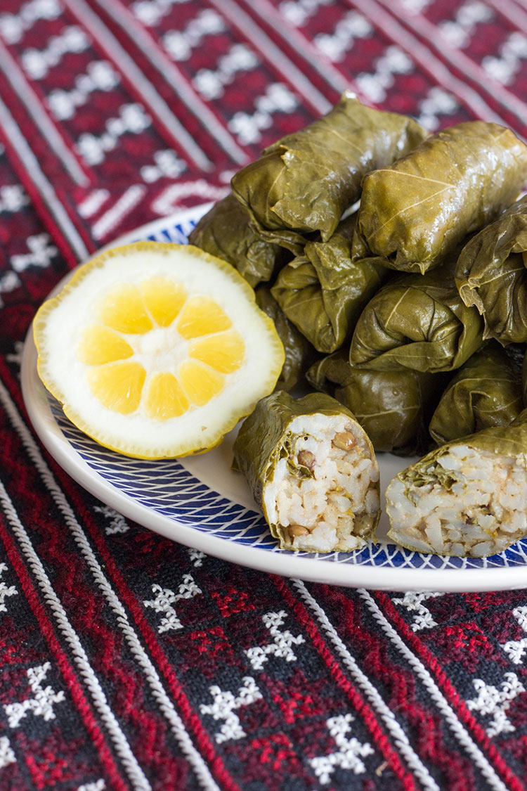 Rice and lentil dolma, made with fresh grape vine leaves.