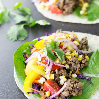 Vegan taco mince made with lentils, mushrooms and sunflower seeds as the three main ingredients.