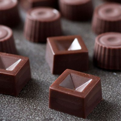 Salted date caramel raw vegan chocolates.