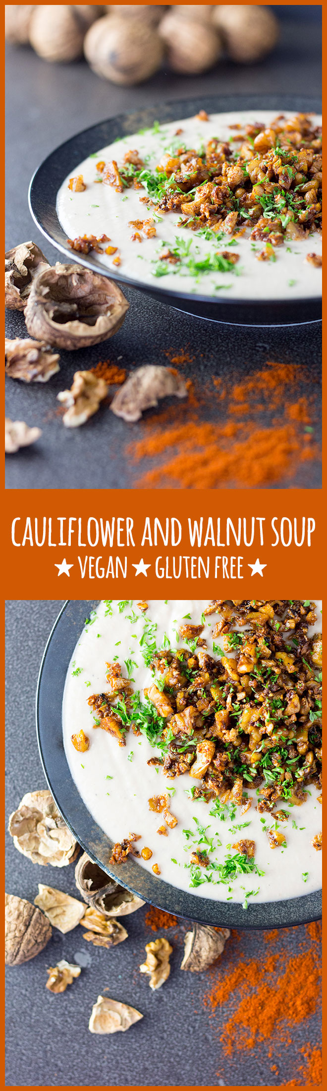 A satisfyingly creamy and earthy cauliflower and walnut soup topped with smoky, crispy crumbs.