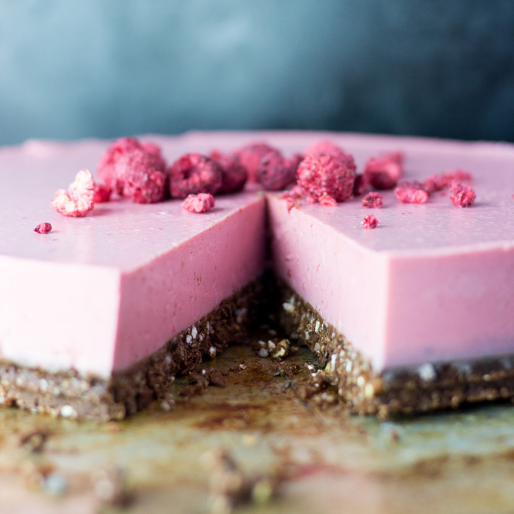 Raspberry, lime and coconut cheesecake