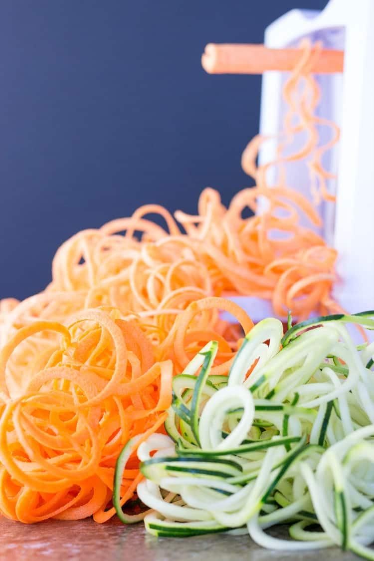 Spiralized zucchini, sweet potato and carrot.