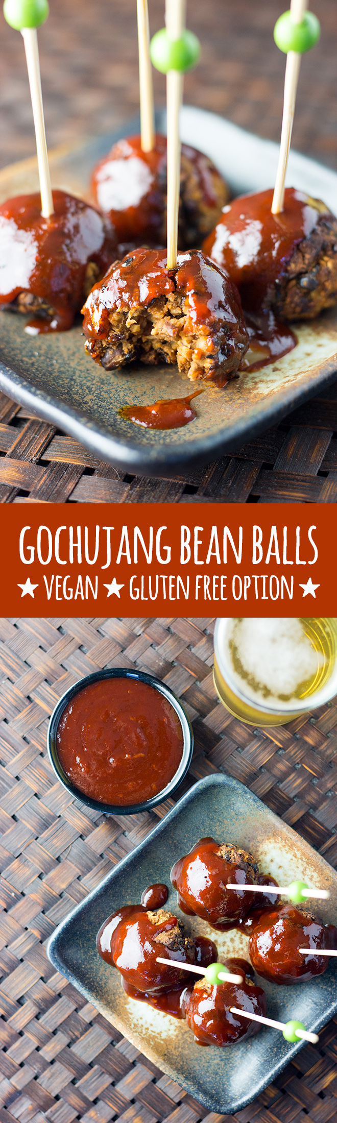 Gochujang is the star of the show in thisfull on, flavour packed, Korean style take on vegan meat balls made with black beans, oats, walnuts and chia seeds. These bean balls are perfect for parties and social gatherings. Gluten free option available.